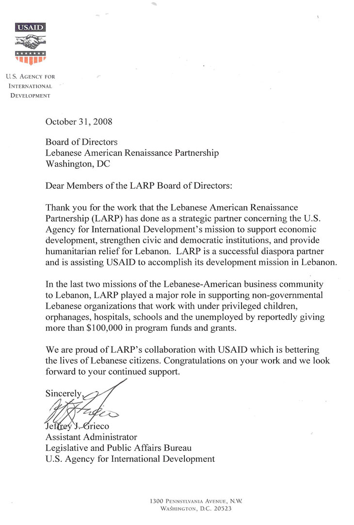 USAID letter to LARP